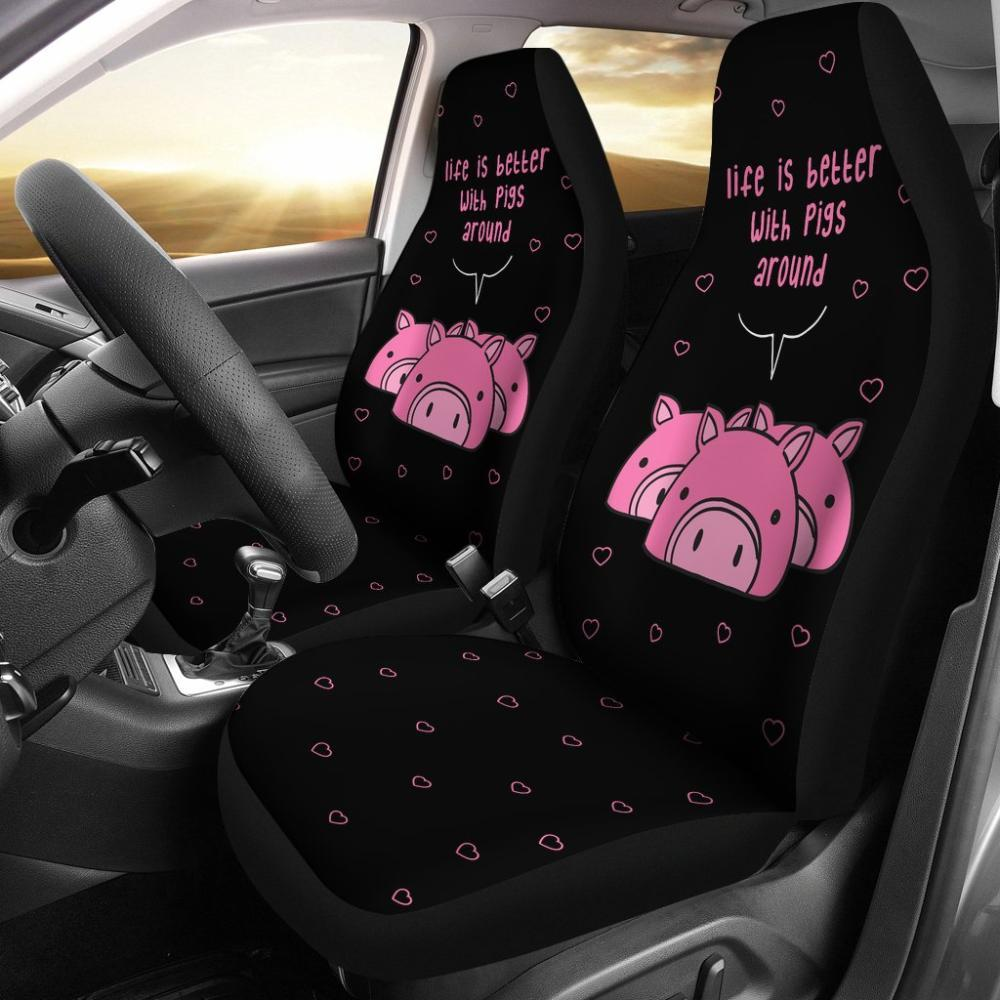 Life Is Better With Pigs Around Universal Fit Car Seat Covers - Snappy Creations