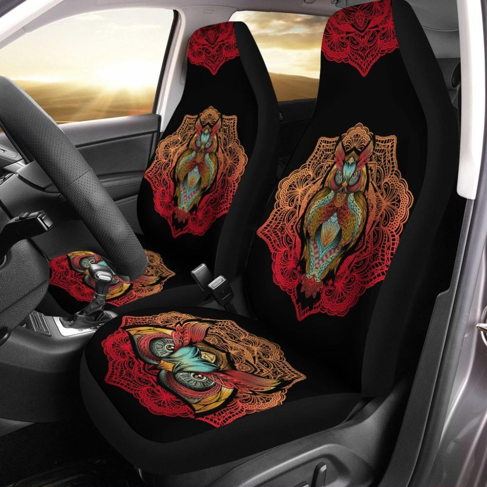 Testing 1 - Owl Universal Fit Car Seat Covers - Colorful Owl Design