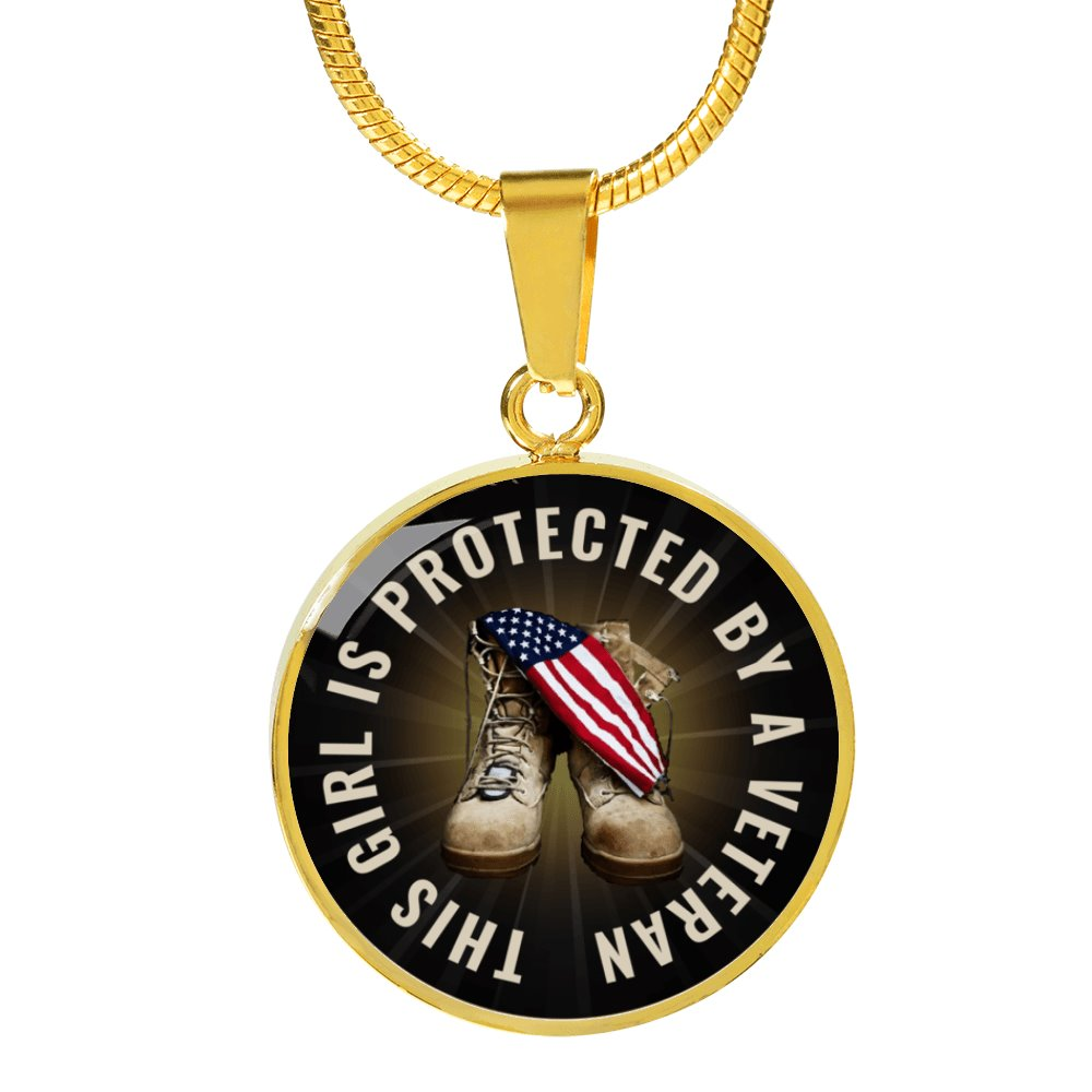 This Girl Is Protected By A Veteran Circle Pendant, Bangle Bracelet - Snappy Creations