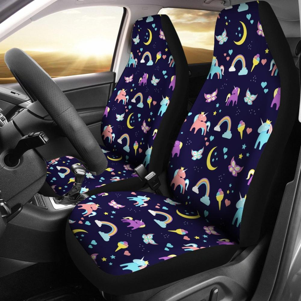 Unicorns - Cute Unicorn Rainbow Butterfly Print Universal Fit Car Seat Covers