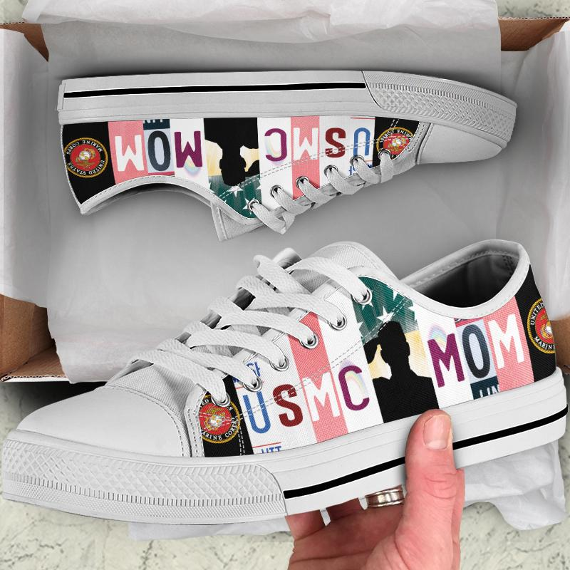 USMC Mom Women's Low Top Canvas Shoes - Snappy Creations