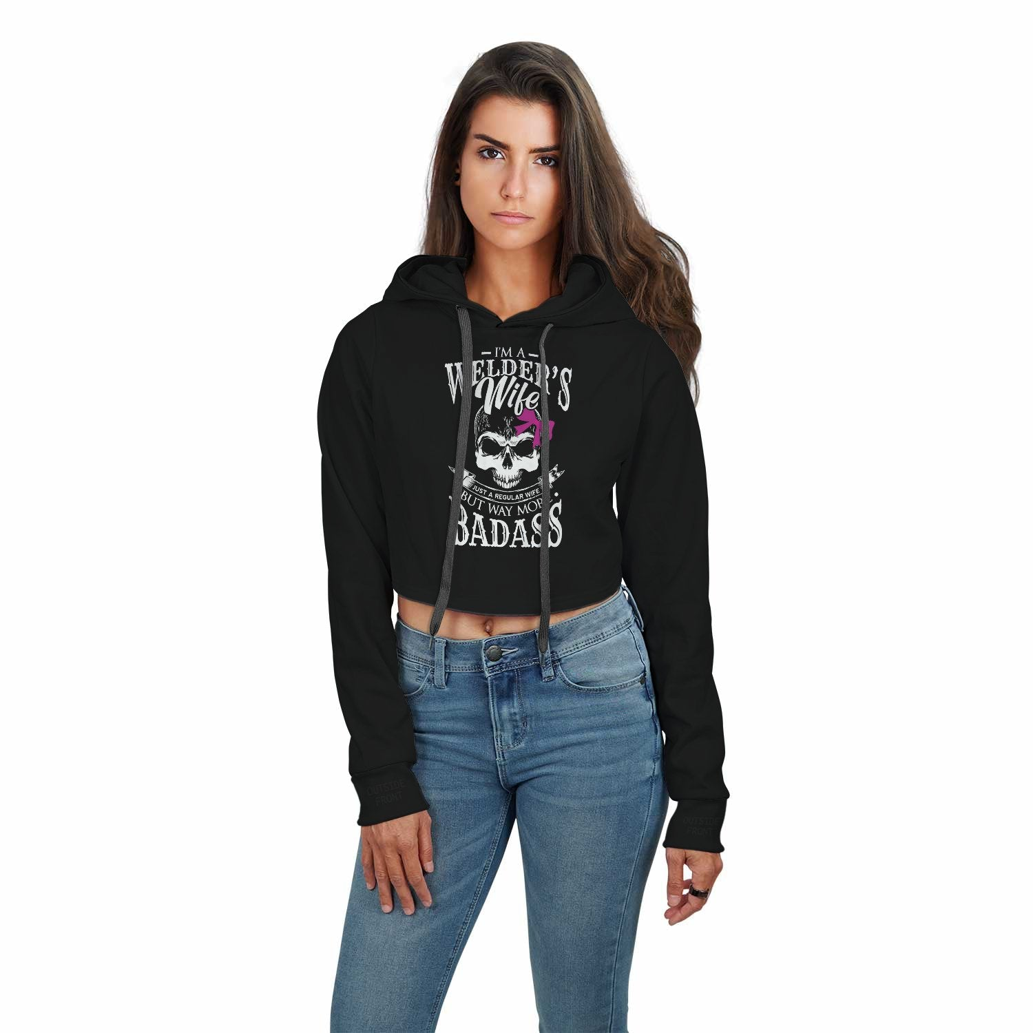 Welder's Wife Just A Regular Wife But More Badass Welder Wife Crop Top Hoodie