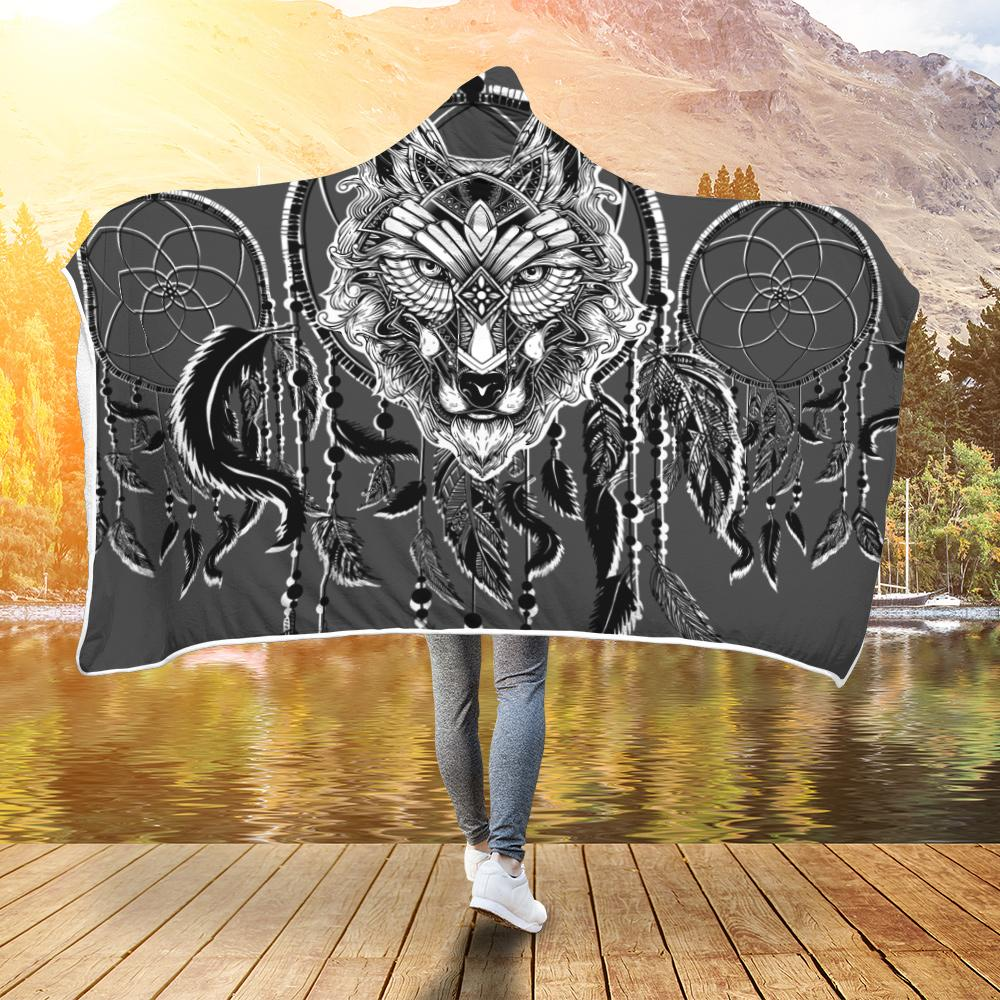 Wolf Dream Catcher Black & White Hooded Blanket - Snappy Creations