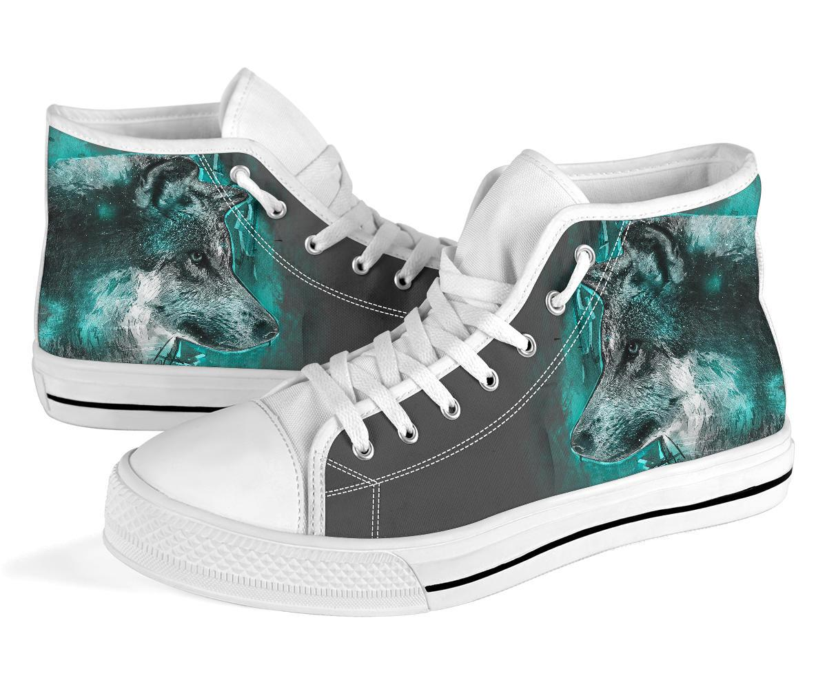 Wolf Print Teal & Grey High Top Canvas Shoes - Snappy Creations