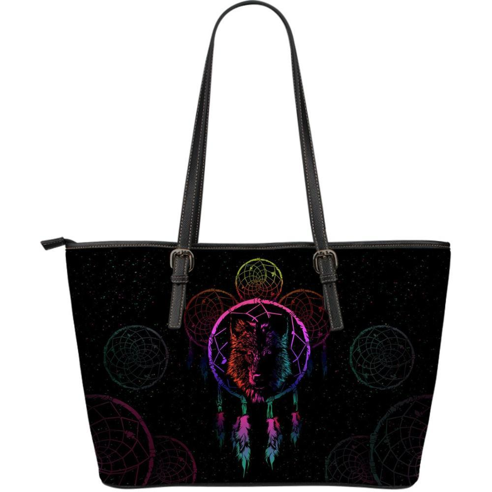 Wolves - Wolf Women's Large Tote Bag - Wolf & Dream Catcher Handbag