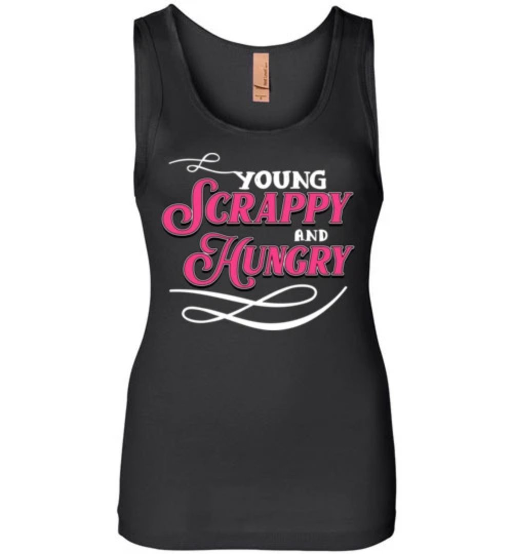 Young Scrappy And Hungry Pink & White Text Hustle T-shirt - Snappy Creations