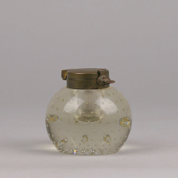 Pairpoint Controlled Bubble Covered Glass Inkwell With Latched Brass Cover