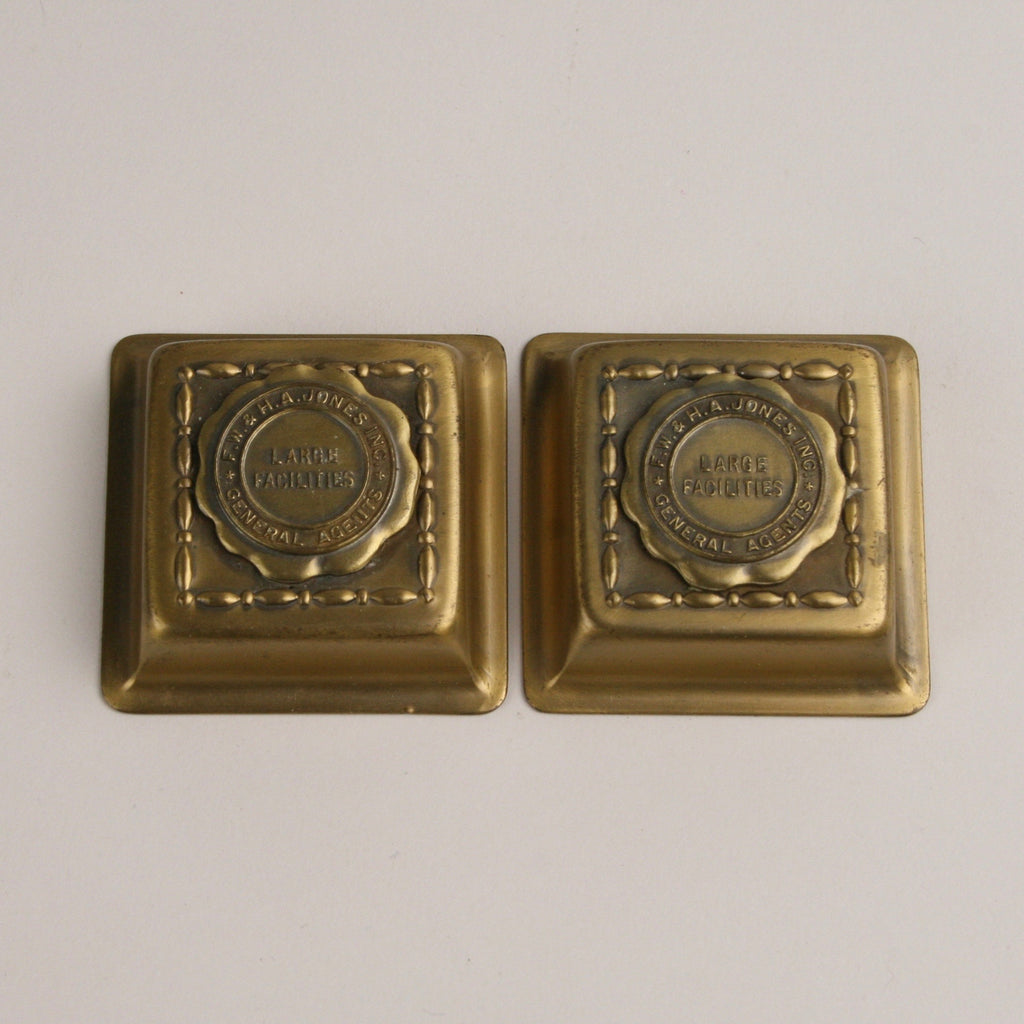 "Double Brass and Glass Inkwell, Advertising, Removable Brass Caps Marked ""F.W. & H.A. Jones Inc. General Agents"" Active Restock requests: 0  Double Brass and Glass Inkwell, Advertising, Removable Brass Caps Marked ""F.W. & H.A. Jones Inc. General Agents"""