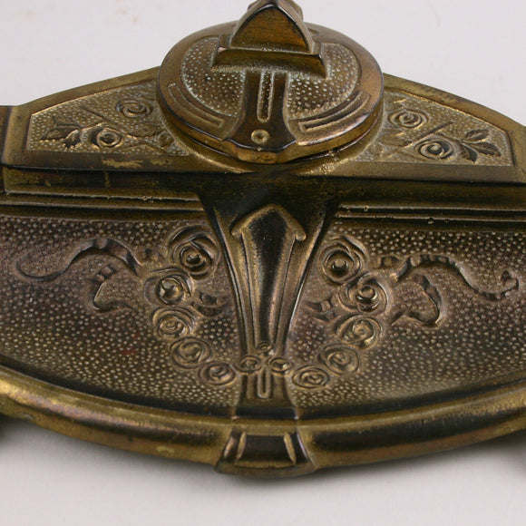 Solid Brass Inkwell Complete with Glass Insert, Swivel Cover and Pen Rest, Beautifully Cast with Floral and Architectural Elements