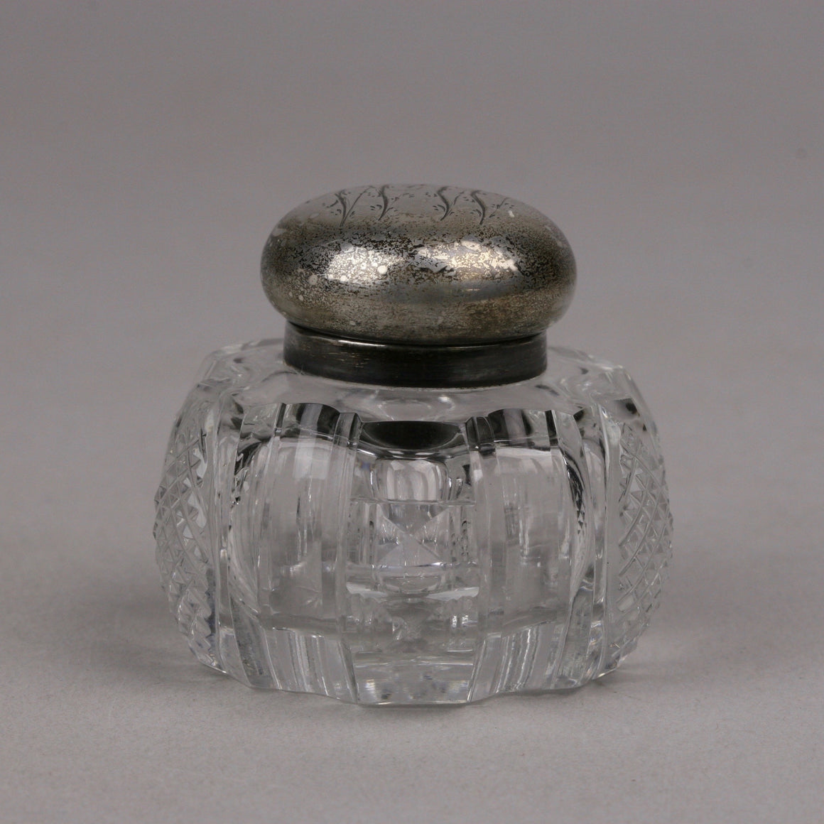 Cut Crystal and Sterling Hinged Cover Inkwell, Monogrammed Lid and Eight Pointed Star in Base