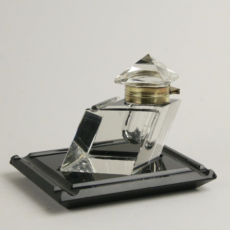 Art Deco Stretched Diamond Covered Inkwell and Black Glass Base