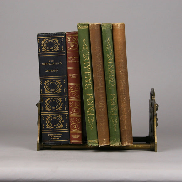 Cast Iron Sliding Book Rack, Book Holder Made in Connecticut by Judd Manufacturing Company