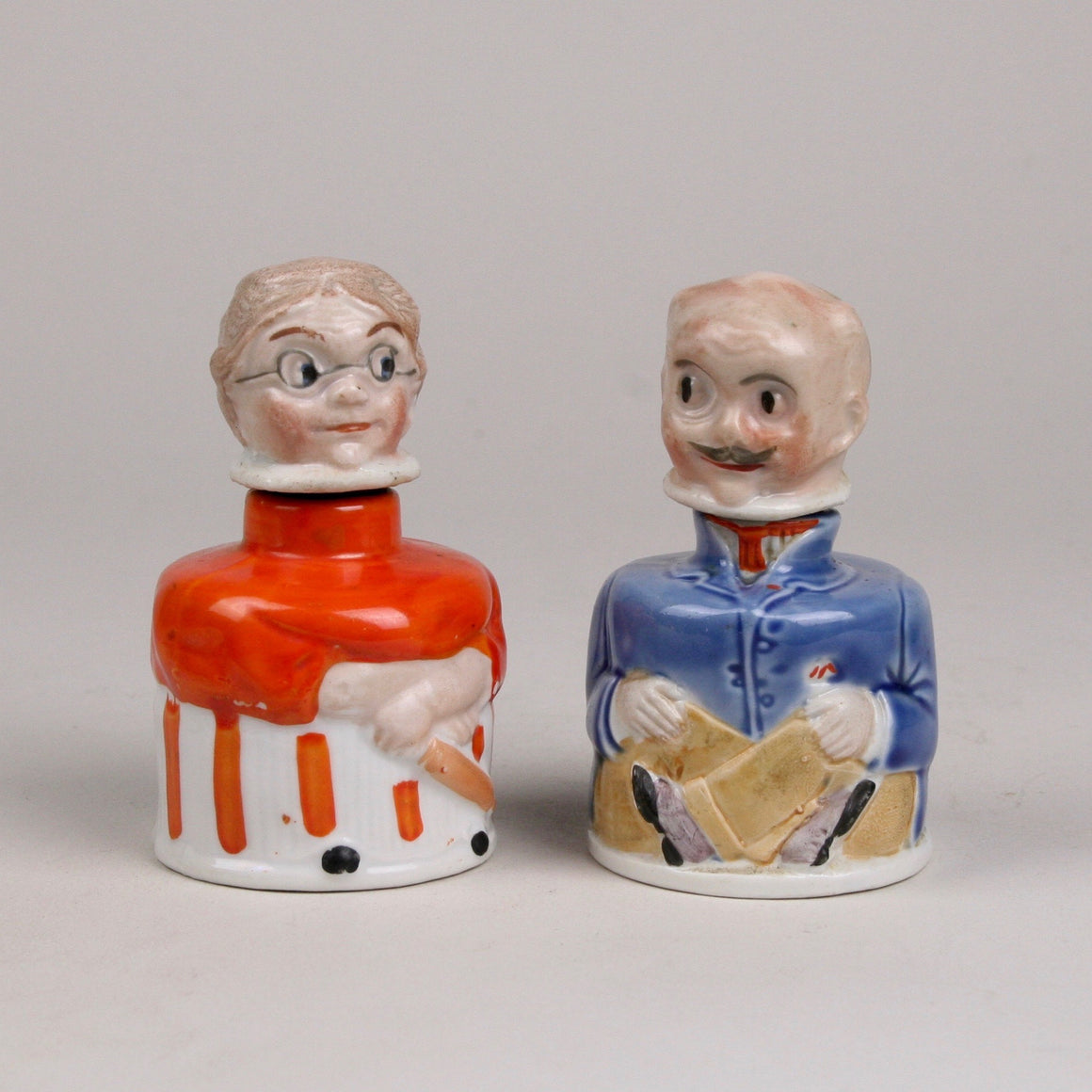 Ma and Pa Carter's Inx Figural Ink Bottles, Porcelain with Cork Stoppers to Hold Head on Bottle, Vintage from 1920s
