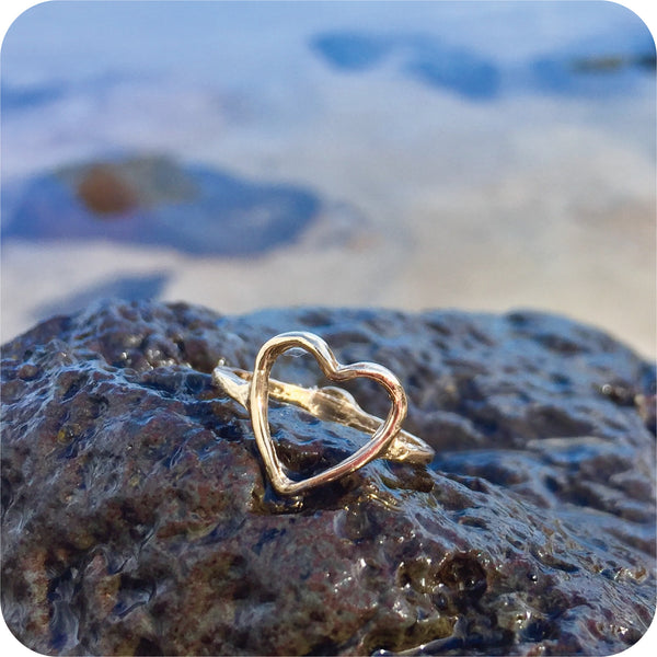 Heart Outline ring Gold plated – beachery
