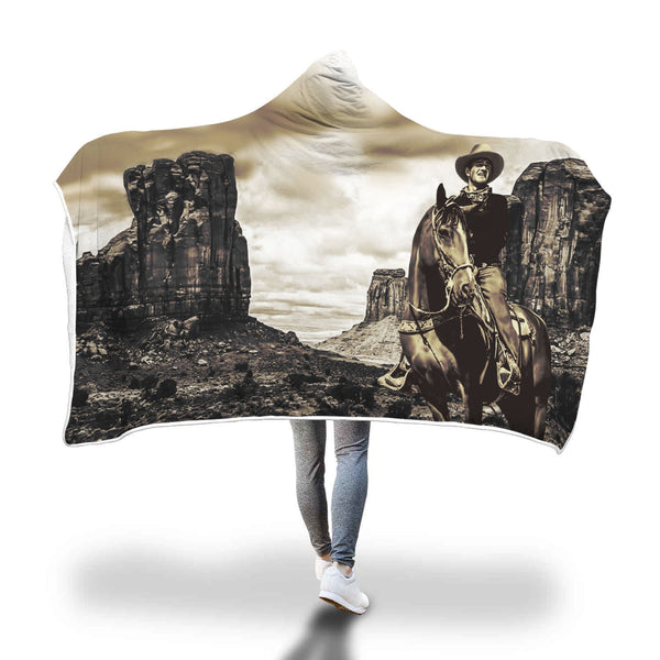 John Wayne Luxury Hooded Blanket - Monument Valley Scene - FREE shipping