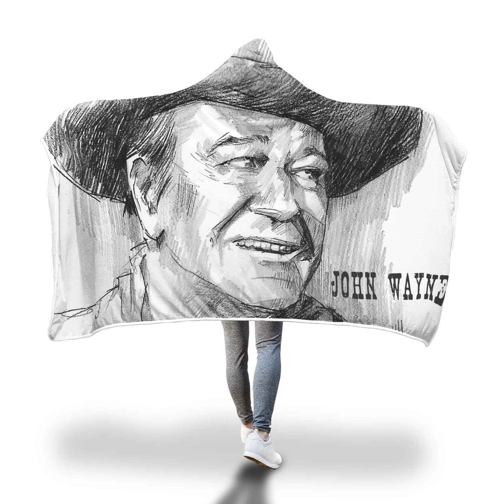 John Wayne Luxury Hooded Blanket - Huge Hand Drawn - FREE shipping