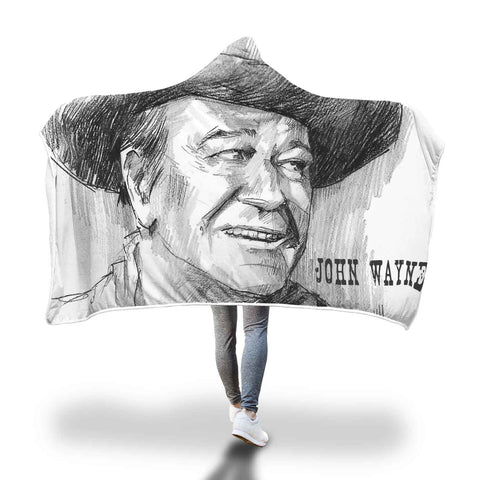 John Wayne Luxury Hooded Blanket - Huge Hand Drawn
