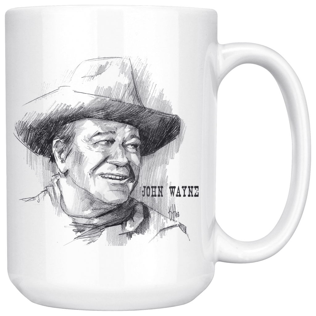 Awesome John Wayne Mug 15oz Hand Drawn Image