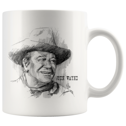 Awesome John Wayne Mug 11oz Hand Drawn Image