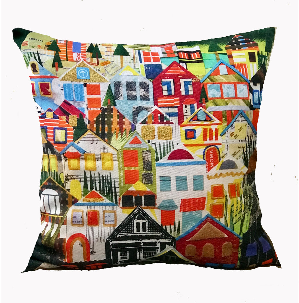 Houses of Noe Valley Pillow Cover