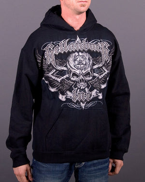 Black Cross Hooded Pullover