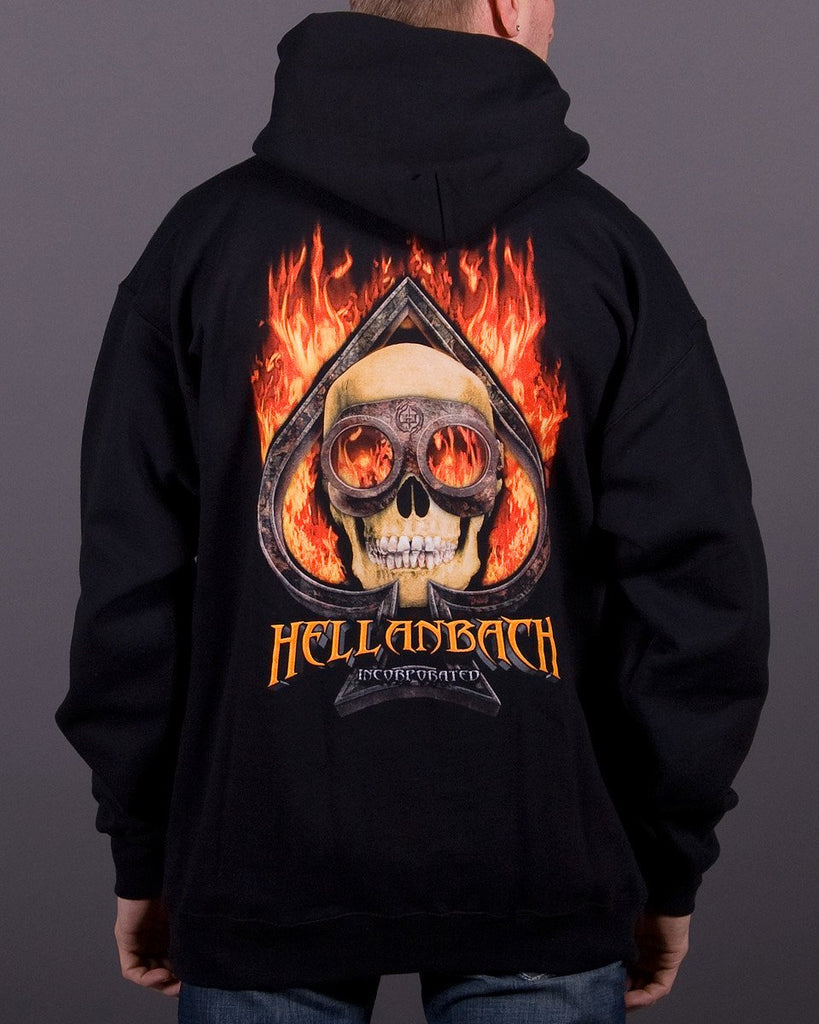 Mens Hoodie - Burning Ace Hooded Pullover