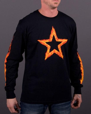 Mens LS T-Shirt - Fire Star Long Sleeve