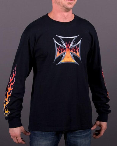 Image of Mens LS T-Shirt - Maltese Flames Long Sleeve