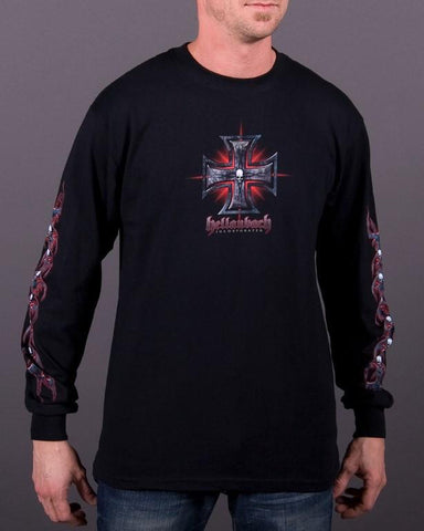 Mens LS T-Shirt - Red Tribal Glow Long Sleeve