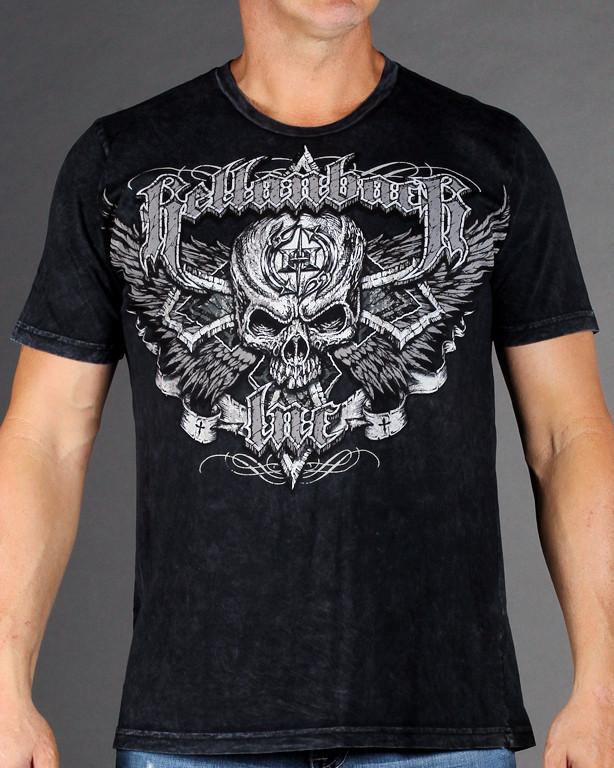 Mens Premium T-Shirt - Black Cross Mineral Washed Premium Shirt