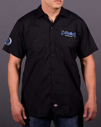 Mens Work Shirt - 3D Work Shirt - Black/Blue