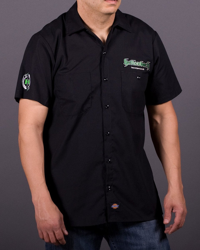 Mens Work Shirt - 3D Work Shirt - Black/Green