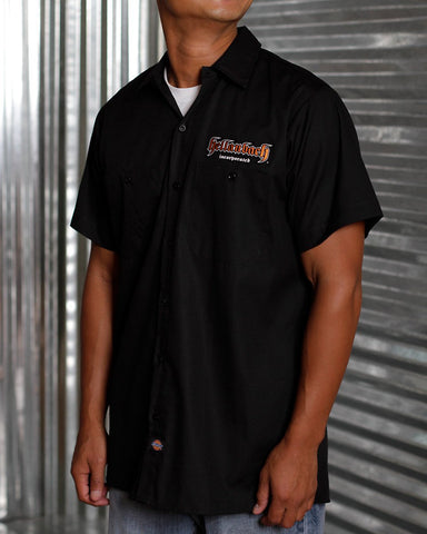 Image of Mens Work Shirt - 3D Work Shirt - Black/Orange