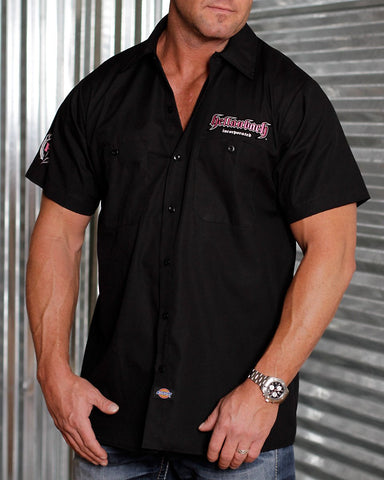 Image of Mens Work Shirt - 3D Work Shirt - Black/Pink