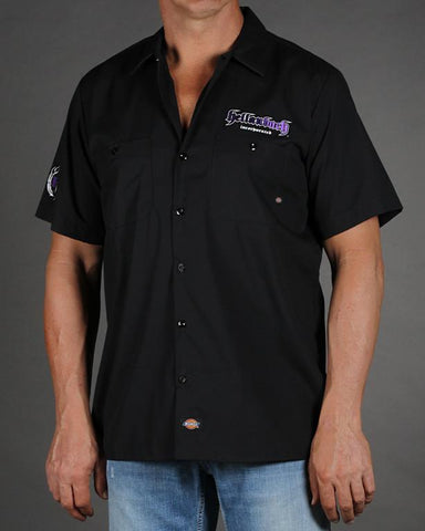Mens Work Shirt - 3D Work Shirt - Black/Purple