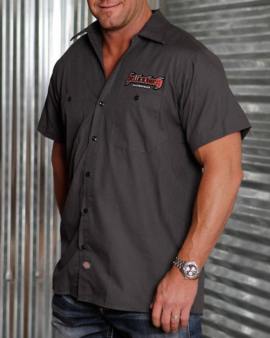 Image of Mens Work Shirt - 3D Work Shirt - Charcoal/Red