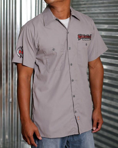 Mens Work Shirt - 3D Work Shirt - Graphite Grey/Red