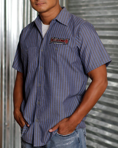 Mens Work Shirt - 3D Work Shirt Grey/Blue Pinstripe W/Red Patch