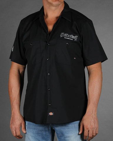 Image of Mens Work Shirt - Black 4D Work Shirt W/Carbon Fiber Pattern