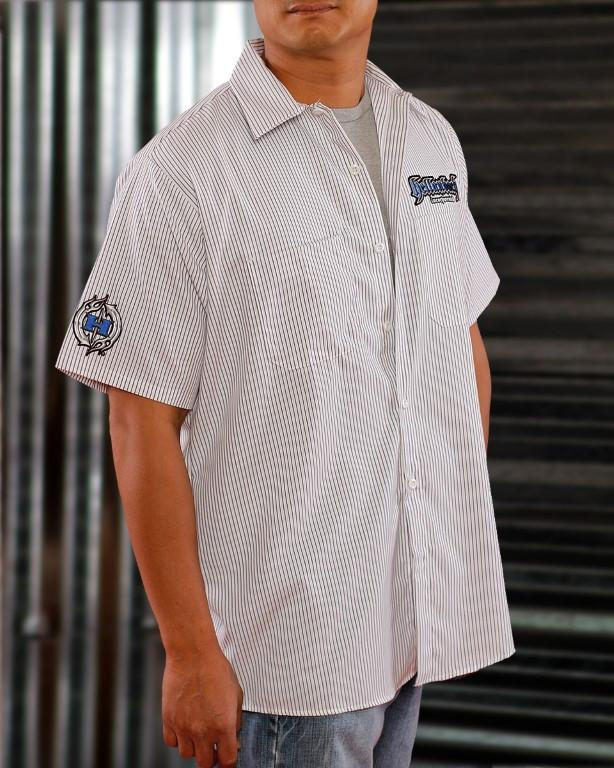 Mens Work Shirt - Pinstripe 3D Work Shirt - Blue