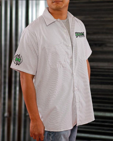 Mens Work Shirt - Pinstripe 3D Work Shirt - Green