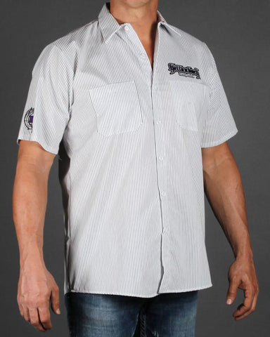 Image of Mens Work Shirt - Pinstripe 3D Work Shirt - Purple