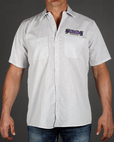 Mens Work Shirt - Pinstripe 3D Work Shirt - Purple