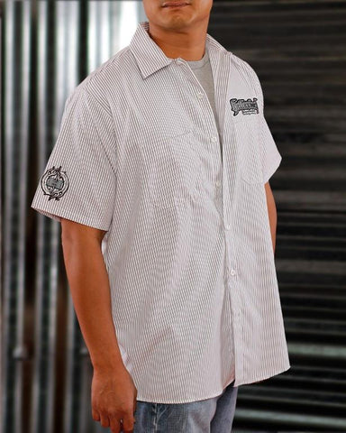Mens Work Shirt - Pinstripe 3D Work Shirt - Silver