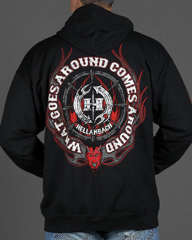 Image of Mens Zip-Up Hoodie - What Goes Around Comes Around Zip-Up Hoodie