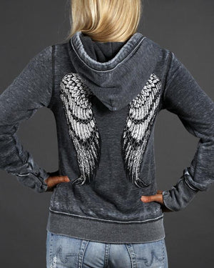 Angel Winged Zen Full-Zip Fleece Hood