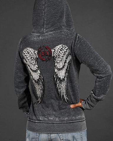 Womens Hoodies - Angel Winged Zen Full-Zip Fleece Hood
