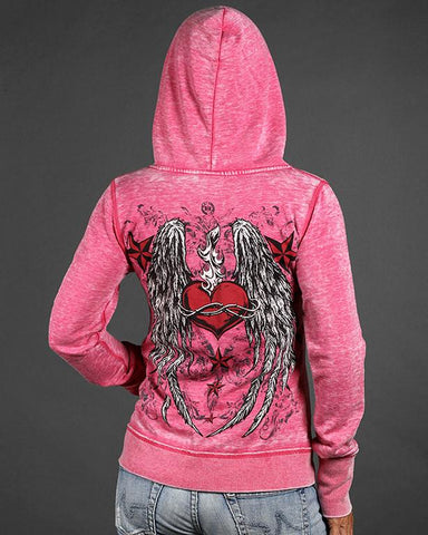 Womens Hoodies - Eternal Flame Zen Full-Zip Up Hoodie