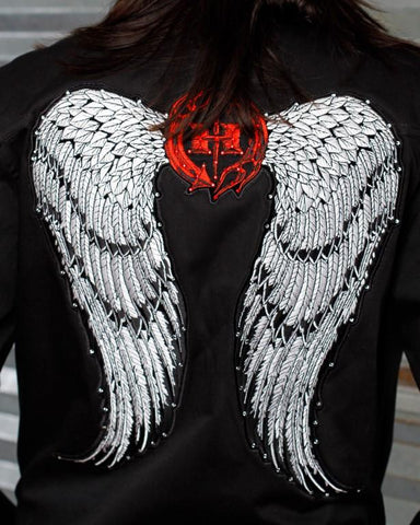 Image of Womens Jacket - Angel Wings Jacket W/ Swarovski Crystals