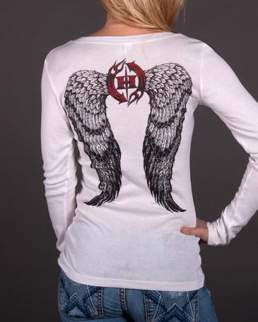 Image of Womens Long Sleeve - Angel Wings Sheer Mini Rib Long Sleeve V-Neck Tee